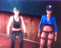 The cop is the stripper: That's my character on the left after ditching the orange jumpsuit.